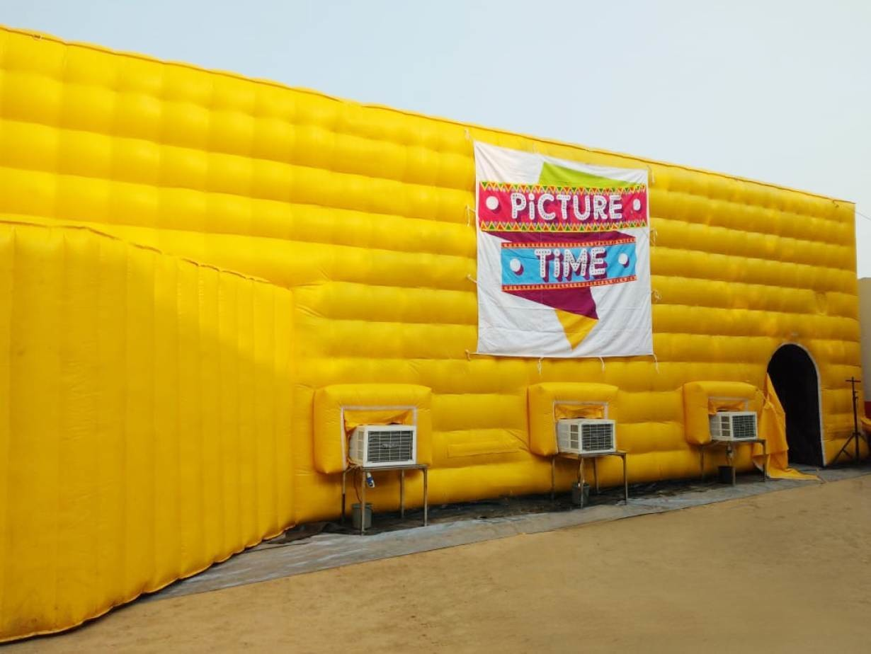 An inflatable theatre where start-up Picture Time screens films in rural India.
