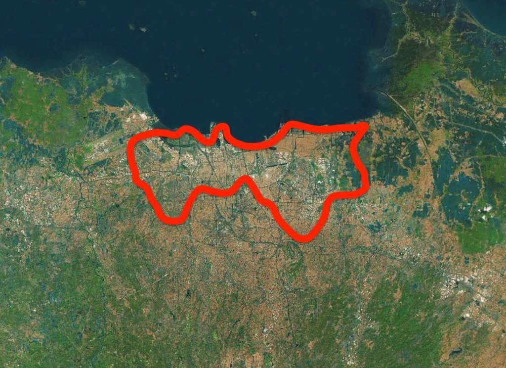 Au nord de Jakarta (zone en rouge), le sol s'est déjà affaissé de deux à cinq mètres.