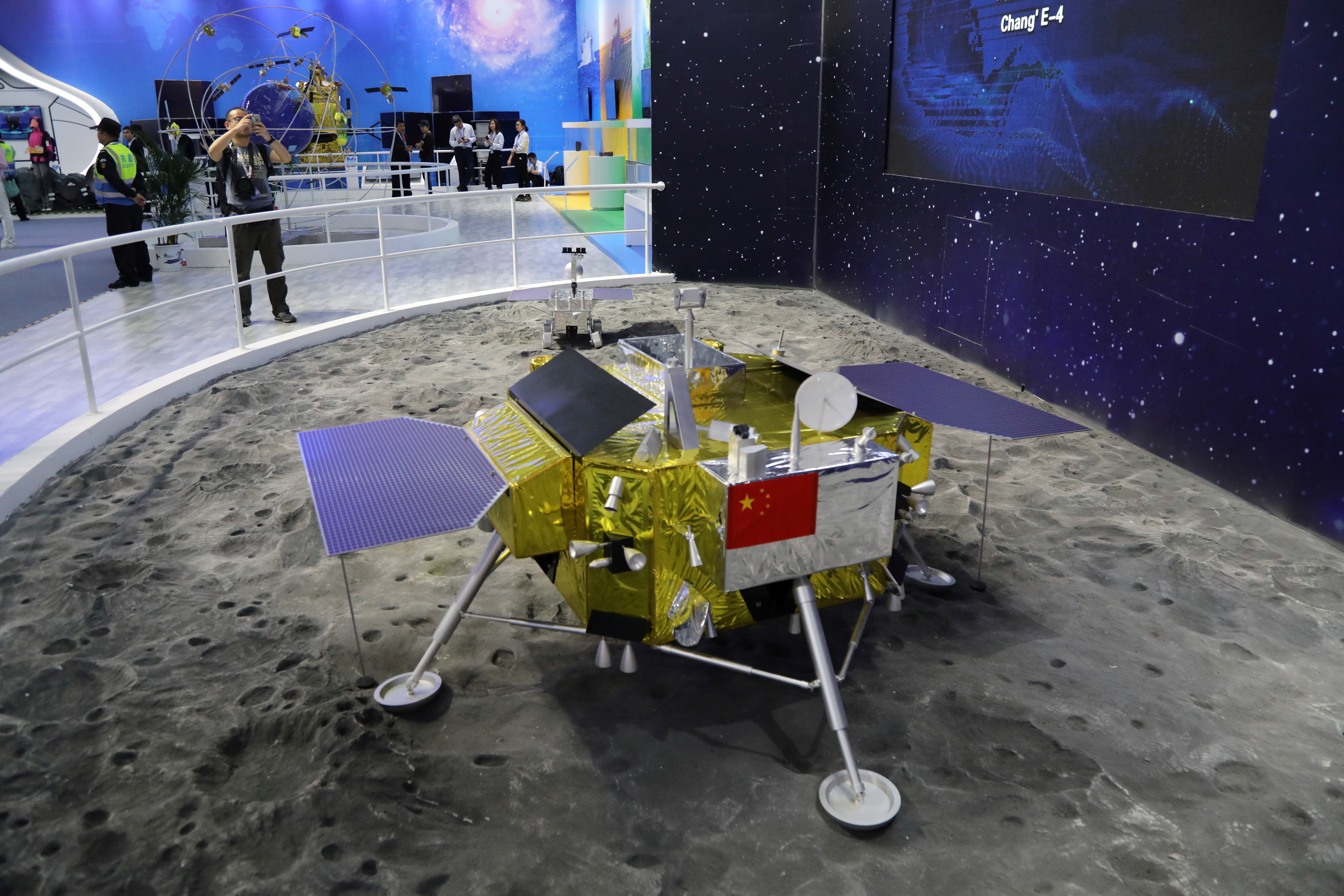 A model of the moon lander for China's Chang'e 4 lunar probe is displayed at the China International Aviation and Aerospace Exhibition, or Zhuhai Airshow, in Zhuhai, Guangdong province, China November 6, 2018. Picture taken November 6, 2018. Wang Xu/China Space News via REUTERS ATTENTION EDITORS - THIS IMAGE WAS PROVIDED BY A THIRD PARTY. CHINA OUT. - RC115D02C000