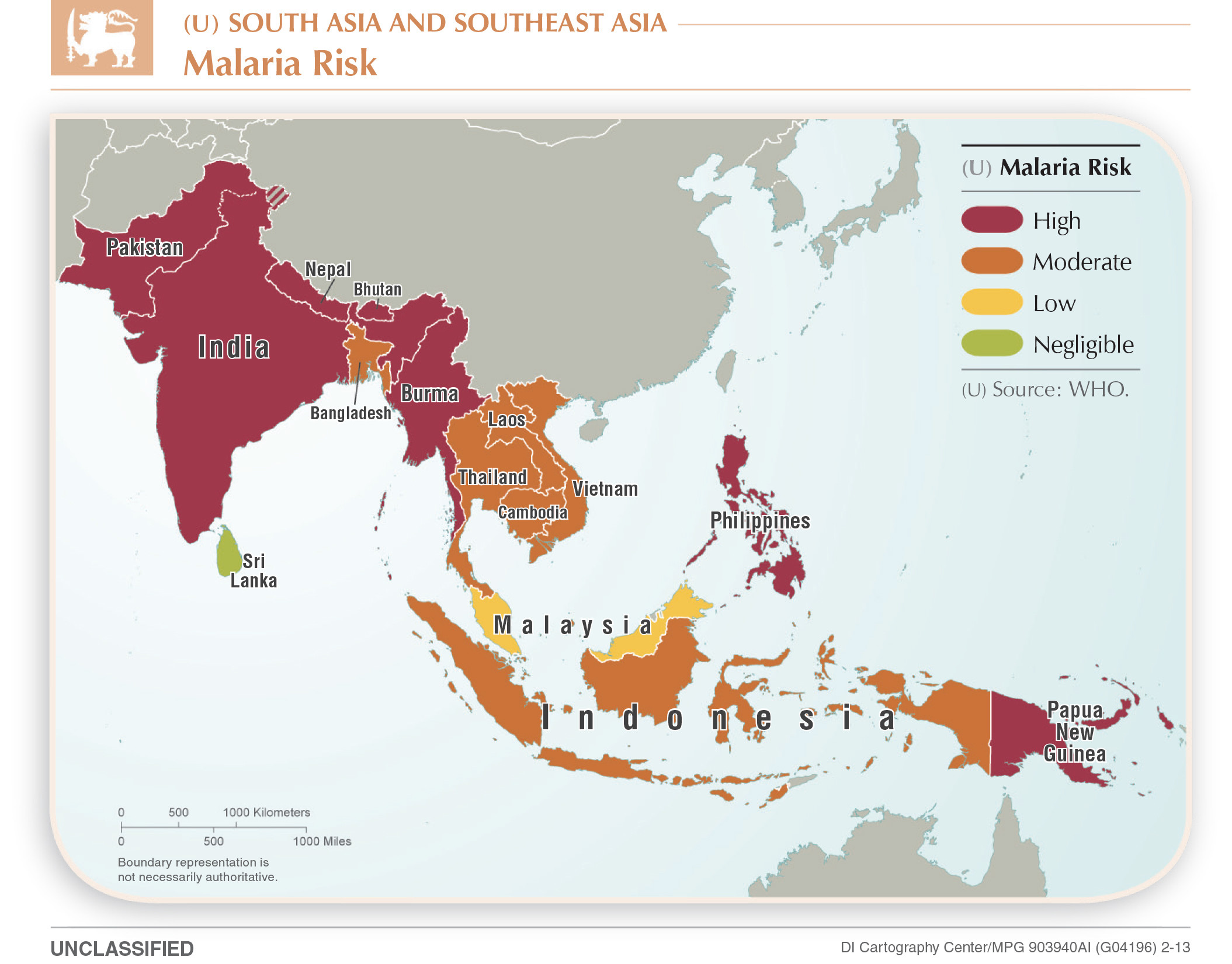 Malaria risk in South and Southeast Asia