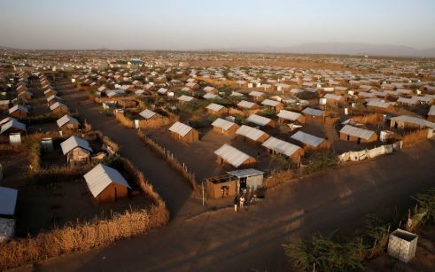An aerial view shows recently constructed houses at the Kakuma refugee camp in Turkana county, northwest of Nairobi, Kenya, January 31, 2018.