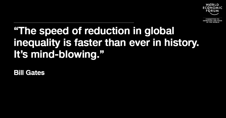 The speed of reduction in global inequality is faster than ever in history. It's mind-blowing.