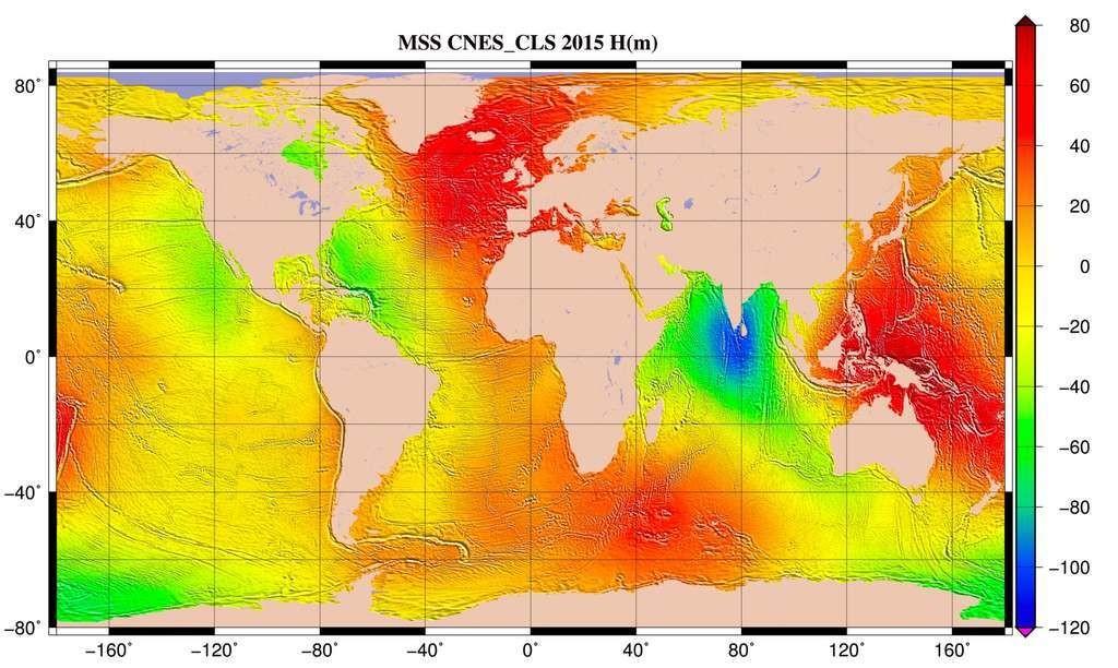 Hauteur moyenne de l'océan par rapport à l'ellipsoïde de référence T/P. Cette surface est fournie sur une grille régulière (1/60° x 1/60°). La surface moyenne océanique est la forme moyenne prise par la surface des océans durant la période de mesure.