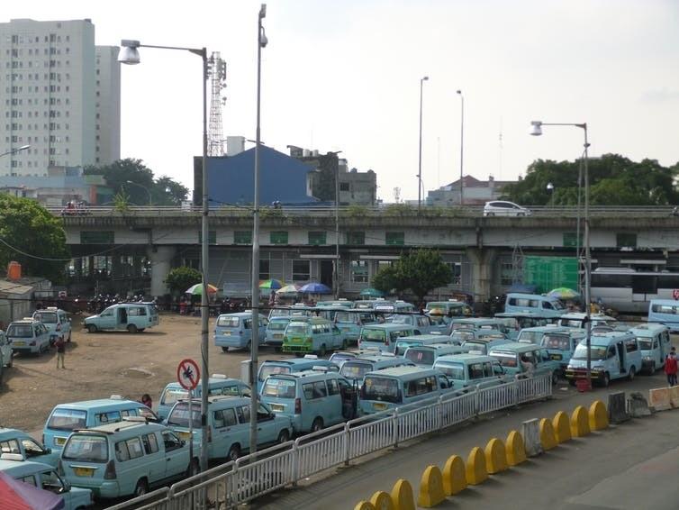 Angkot at Kampung Melayu terminal, East Jakarta.