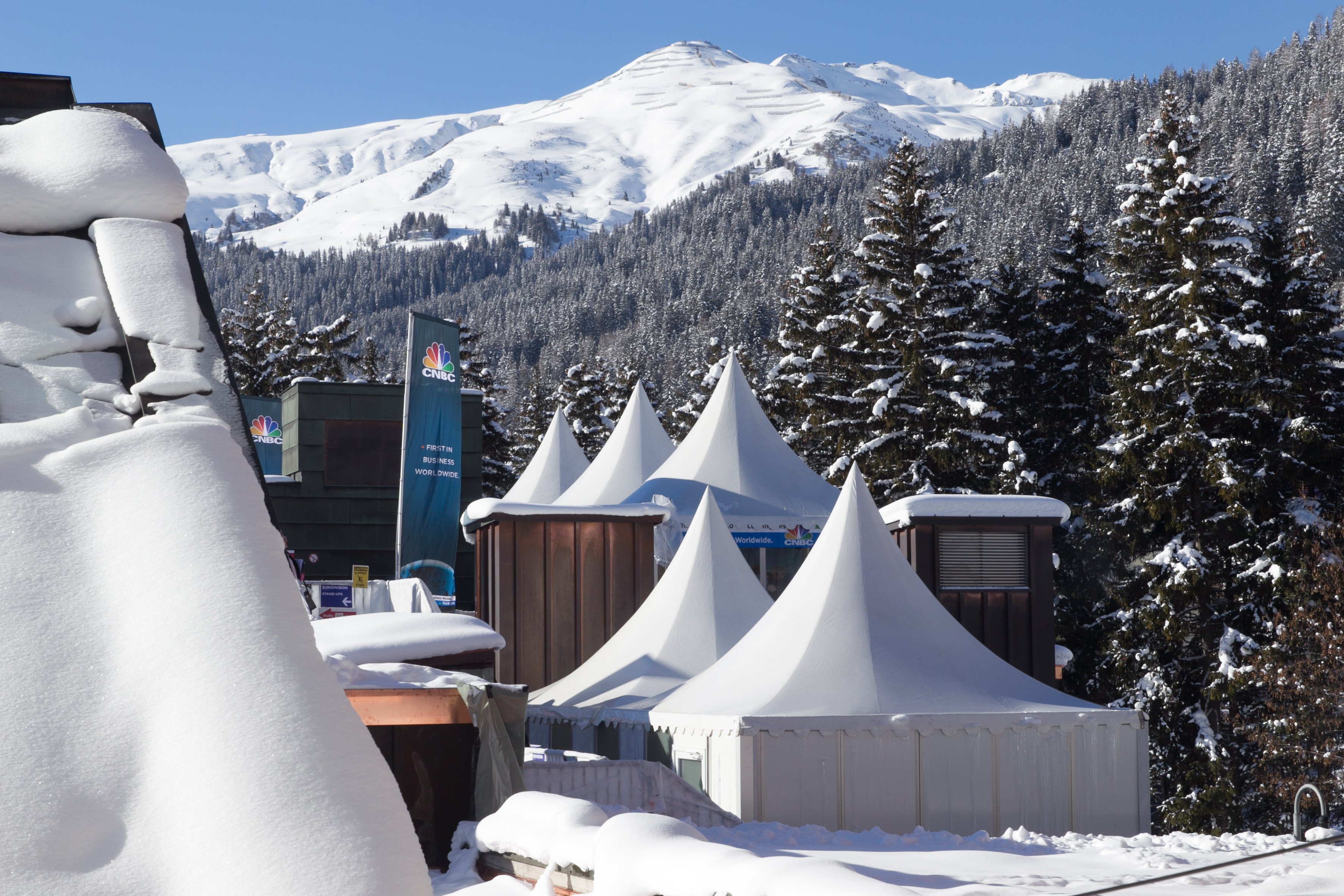 Media studios in the conference centre at Davos