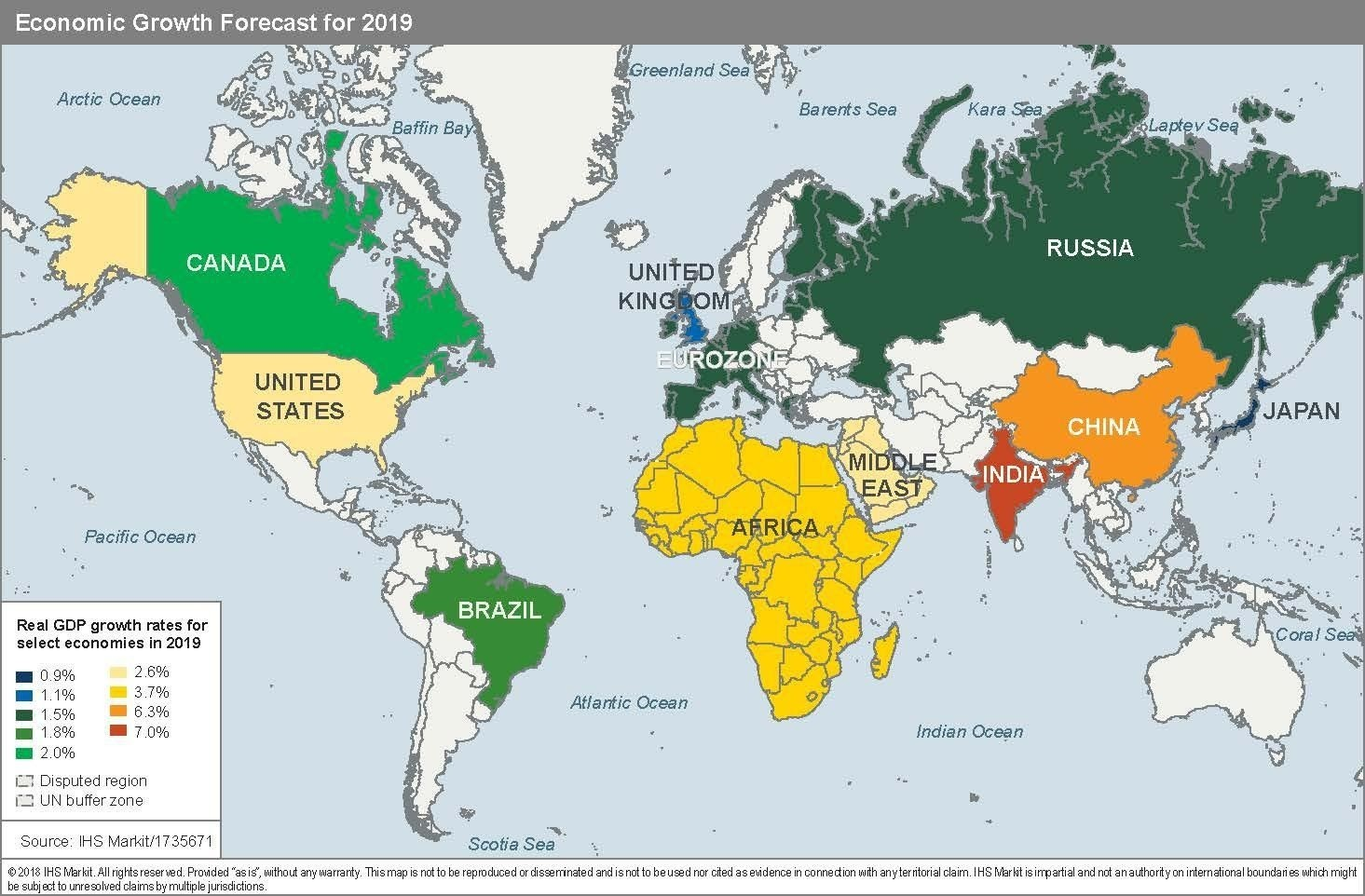 What to expect for the global economy in 2020, a map.