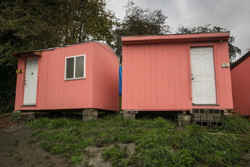 A community of tiny homes for homeless people known as