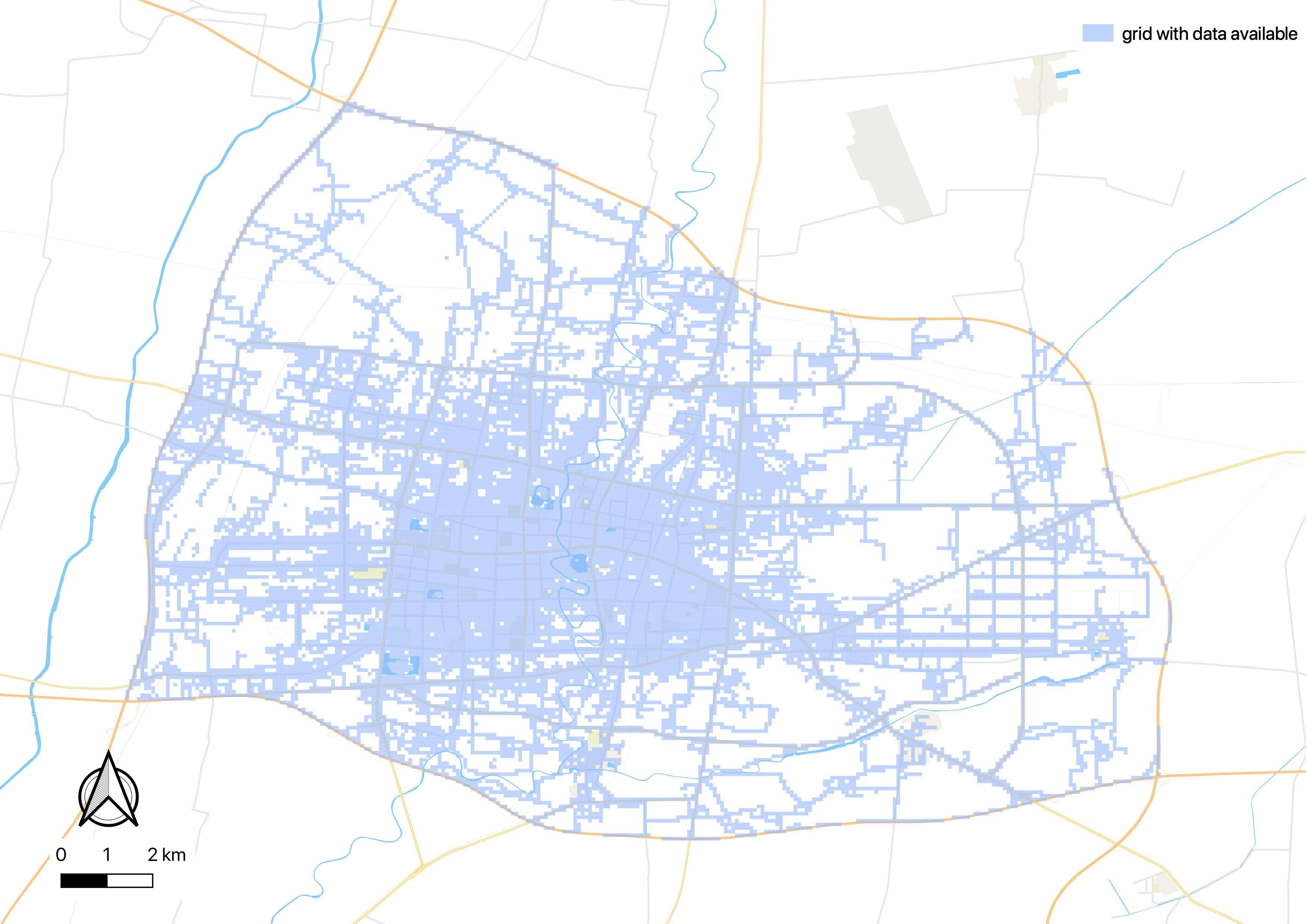 Spatial coverage of the taxi monitoring system.