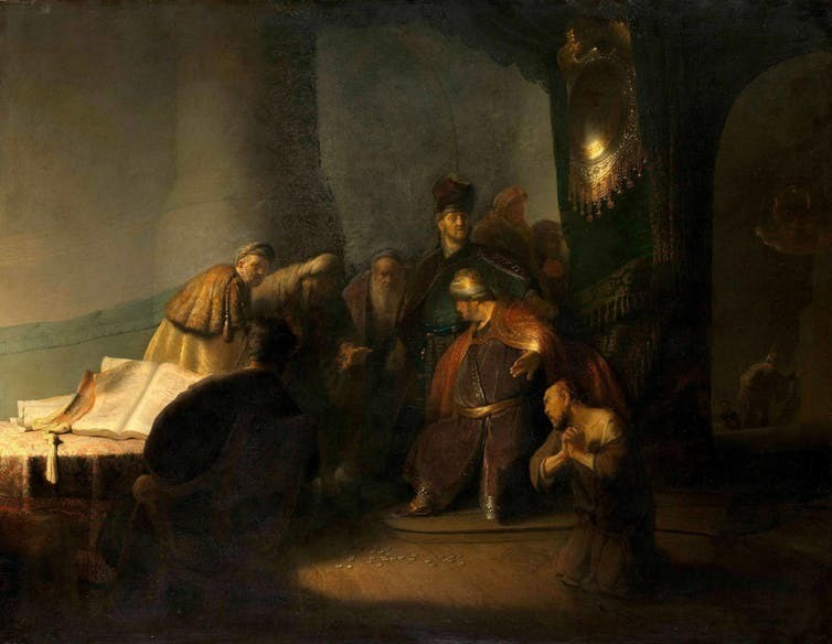 Rembrandt van Rijn, 'Judas Returning the Thirty Pieces of Silver', around 1629, oil on panel. Private collection. Morgan Library & Museum/Private Collection