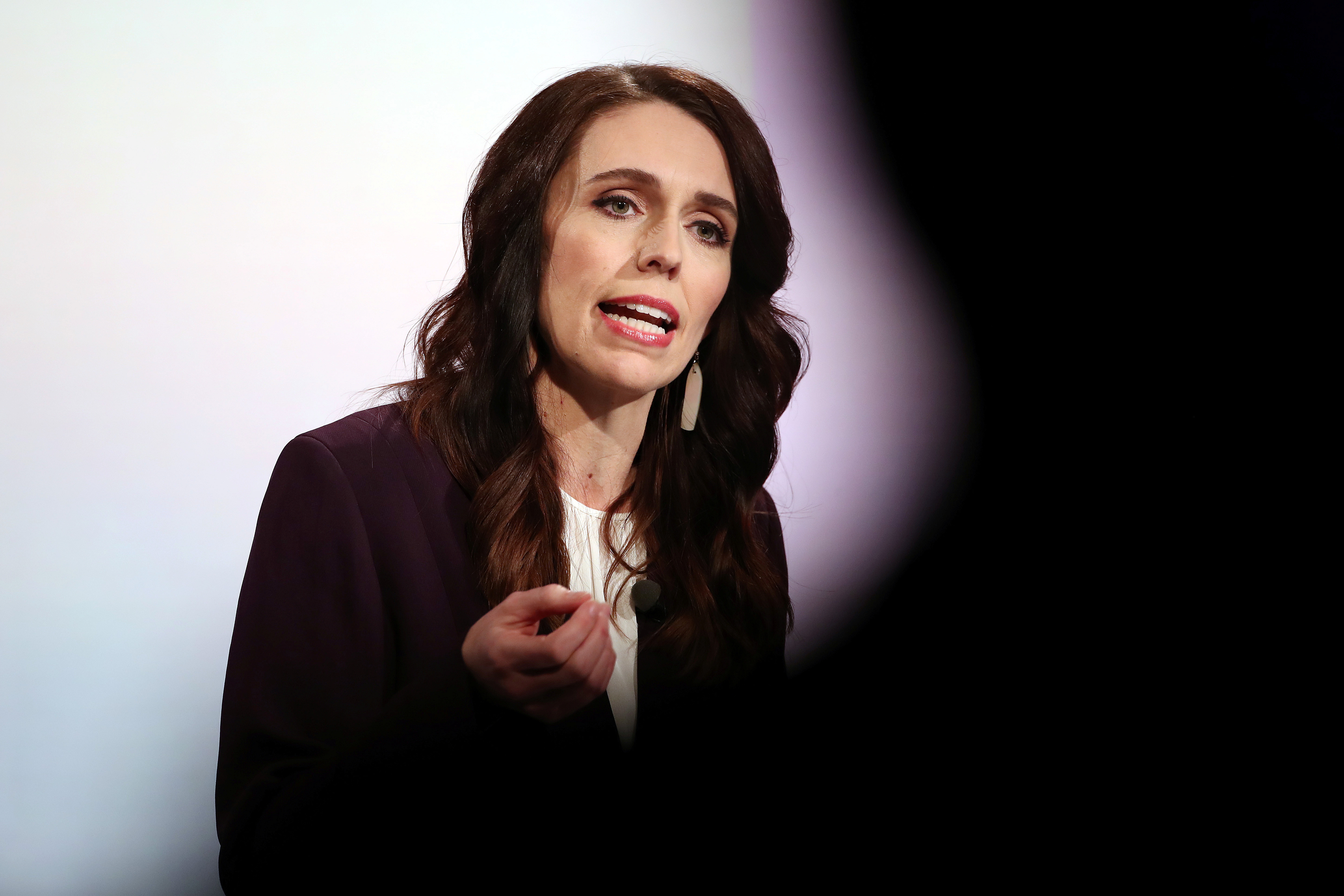 New Zealand Prime Minister Jacinda Ardern participates in a televised debate with National leader Judith Collins at TVNZ in Auckland, New Zealand, September 22, 2020. Fiona Goodall/Pool via REUTERS - RC2L3J9IZADK