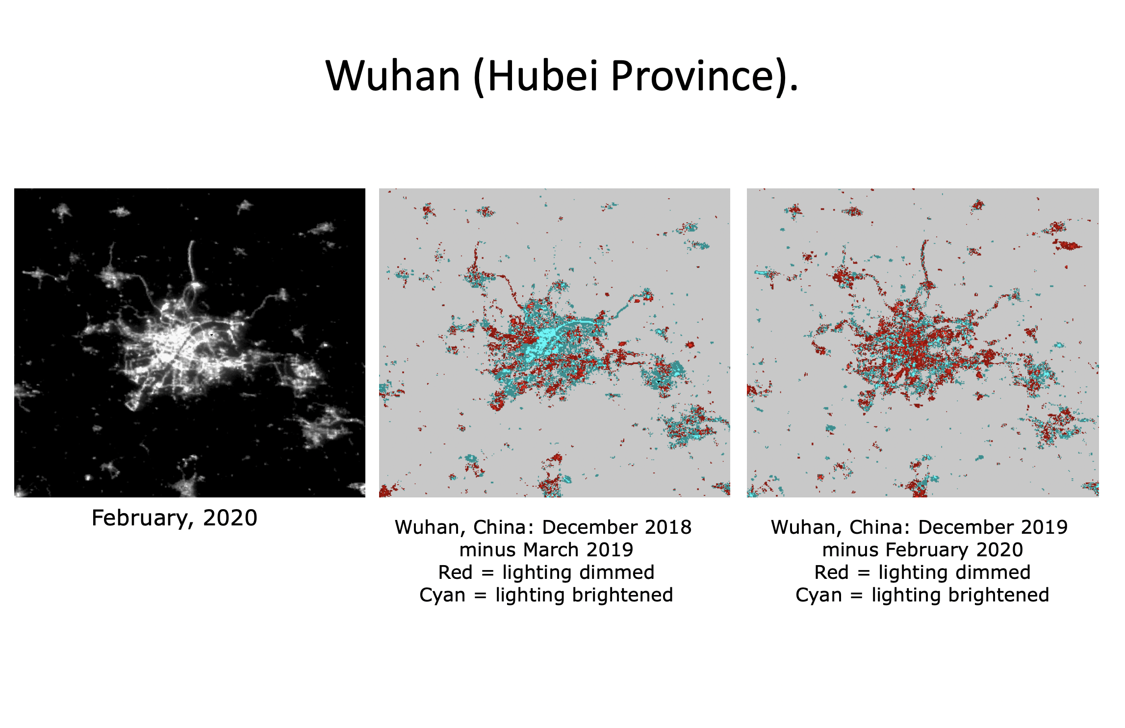 Figure 1. Light levels in Wuhan compared with this period last year