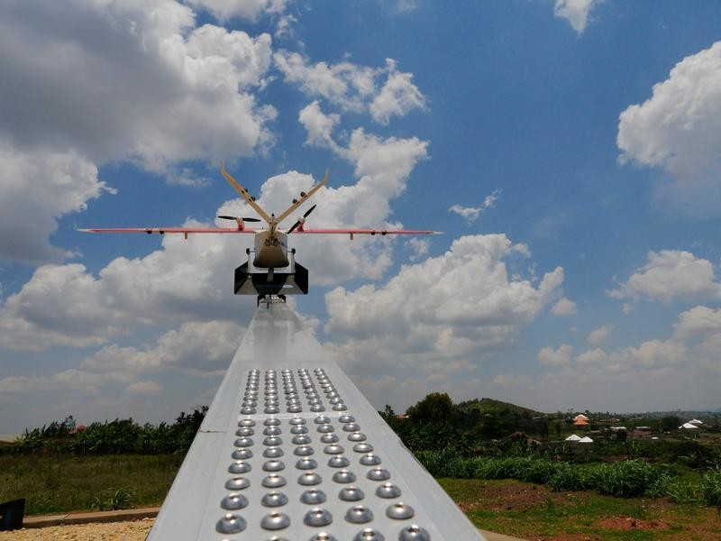 A drone is placed on a launch pad at operations center in Muhanda, south of Rwanda's capital Kigali where Zipline, a California-based robotics company delivered their first blood to patients using a drone October 12, 2016.