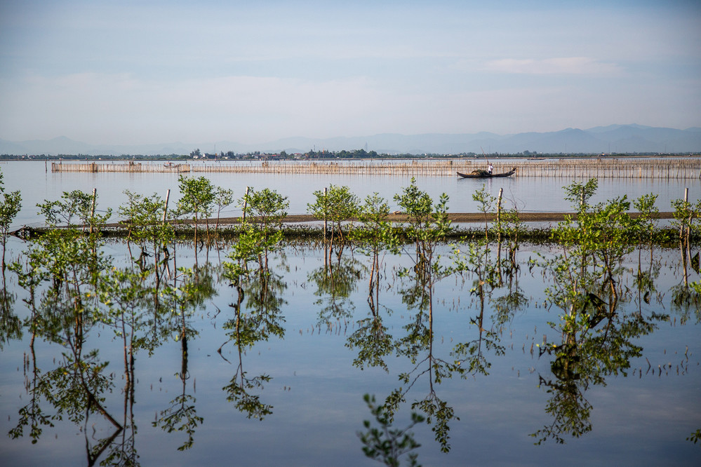 A fishing boat floats past the site of the Hai Duong Commune mangroves. The Centre for Social Research and Development recruited local women to plant mangroves here as part of its ResilNam project in 2018. When grown, the trees can reduce the effects of flooding.