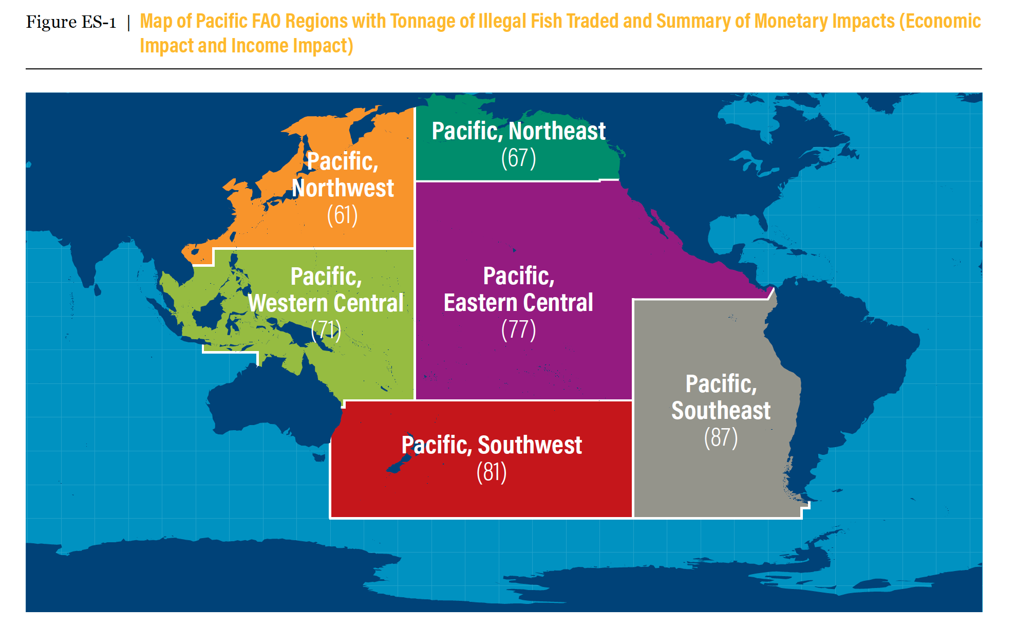 Map showing how much fish is illegally taken from the Pacific Ocean