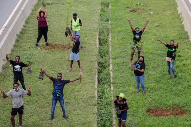 Abuja Shapers maintaining physical distancing whilst planting trees along Nnamdi-Azikiwe Expressway, Abuja.