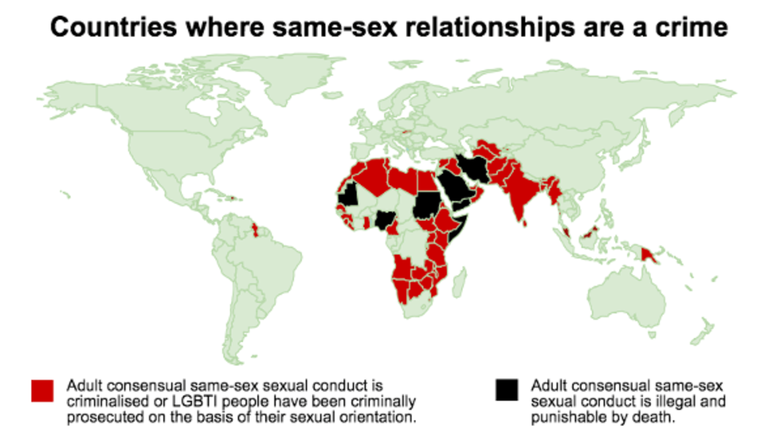 Countries whre same-sex relationships are a crime