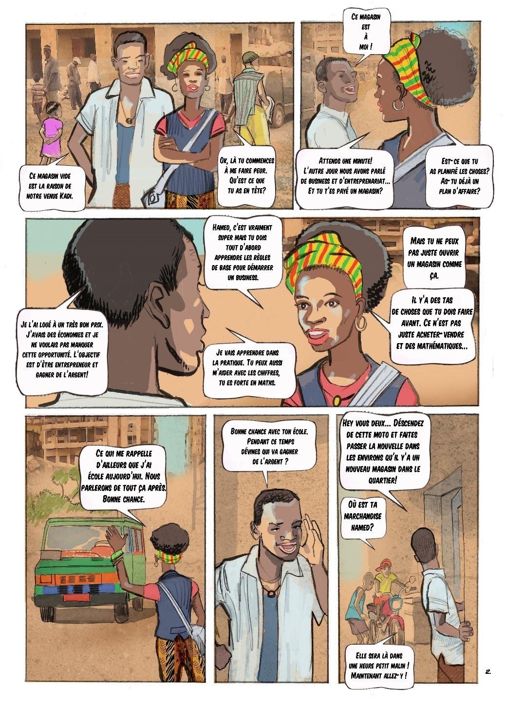 Extrait de la bande-dessinée développée par les incubateurs maliens Impact Hub Bamako et CREATEAM pour la formation à l'entrepreneuriat dans le cadre du Projet de Développement des Compétences et Emploi des Jeunes de la Banque mondiale.