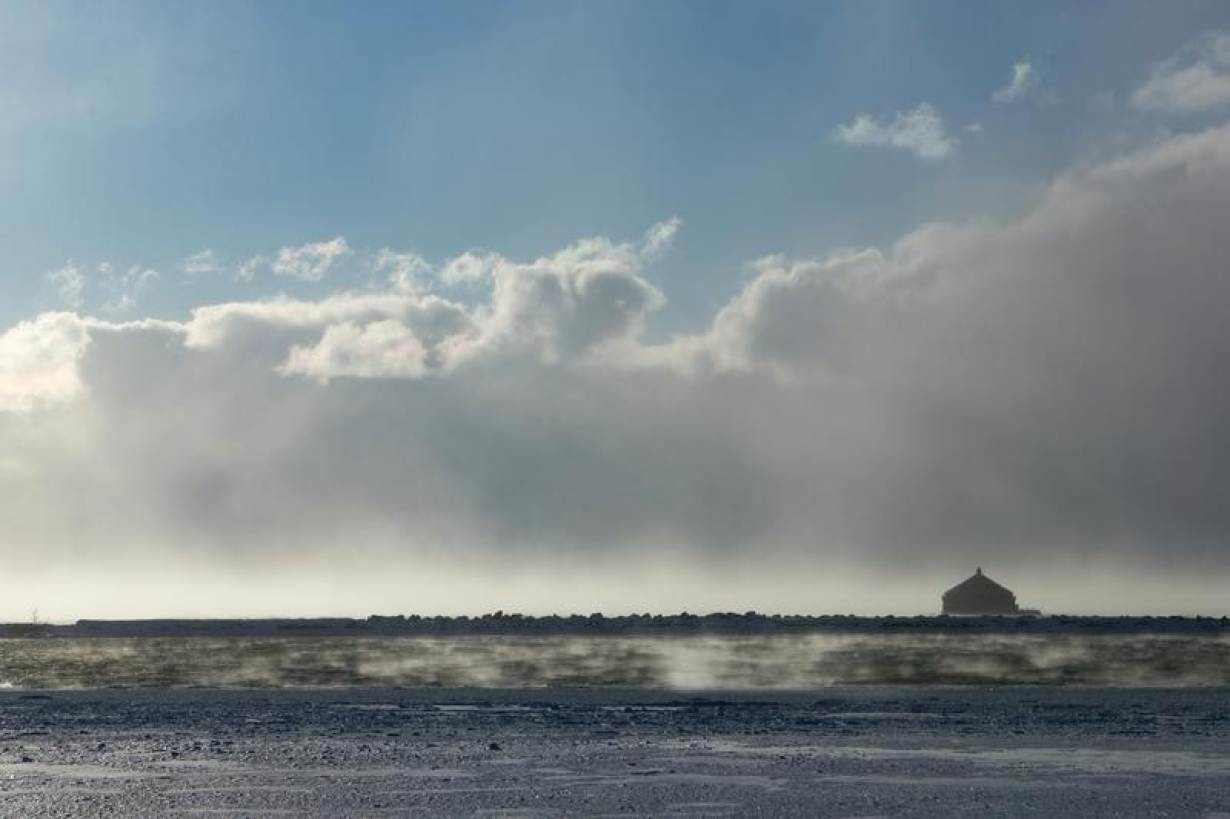 A snowstorm is seen over Lake Erie during the polar vortex in Buffalo, New York, U.S., January 31, 2019.