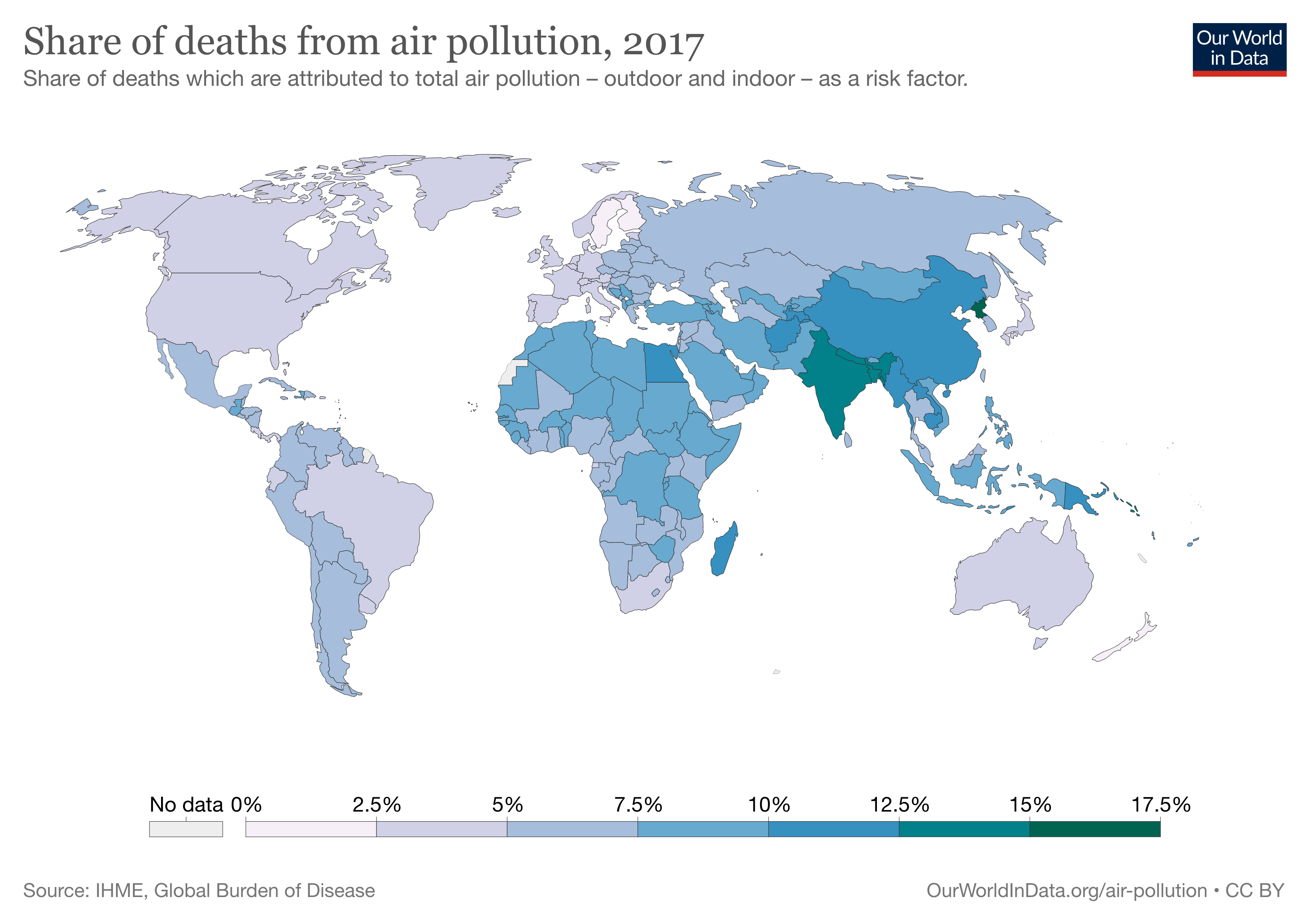 Share of deaths from air pollution, 2017