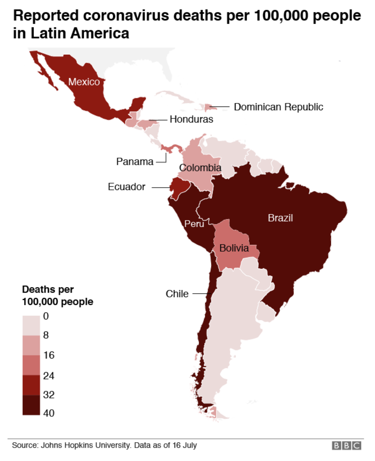 COVID-19 mortality rates across Latin America, as of 16 July