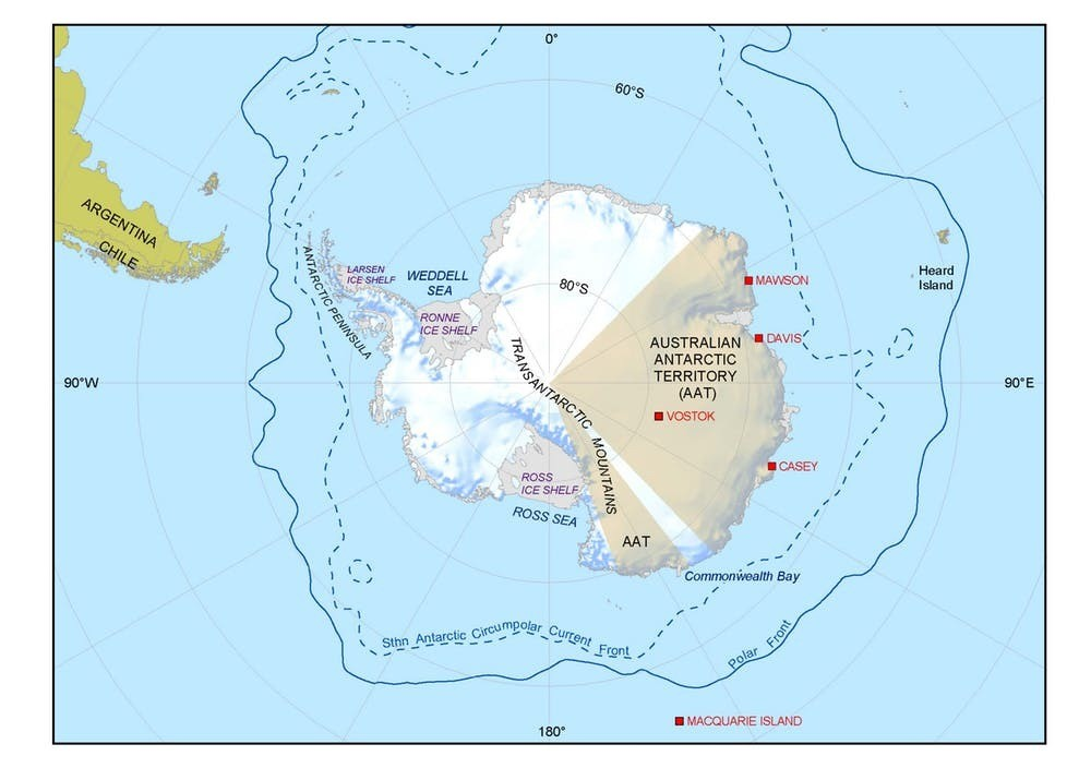 Casey Station is on East Antarctica's coast.