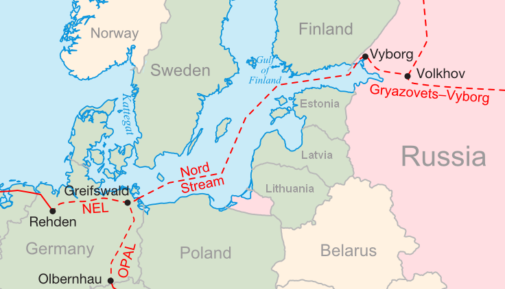 Illustration showing the route of the Nord Stream offshore gas pipeline.