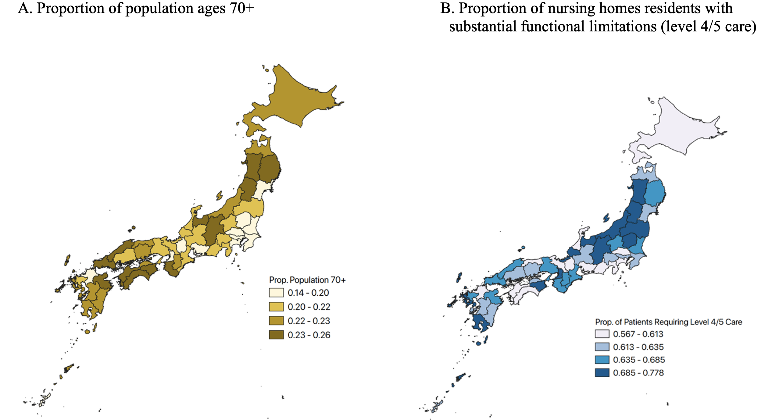 deux cartes du Japon, la première mettant en évidence le lieu de résidence des personnes âgées de 70 ans et plus et la seconde mettant en évidence la proportion de résidents de maisons de retraite ayant des limitations fonctionnelles importantes.