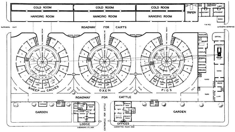 Blueprint for a mechanised public abattoir, designed by slaughterhouse reformer Benjamin Ward Richardson, 1908.