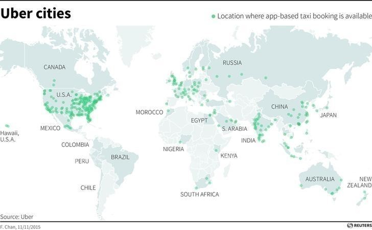 Map showing uber cities