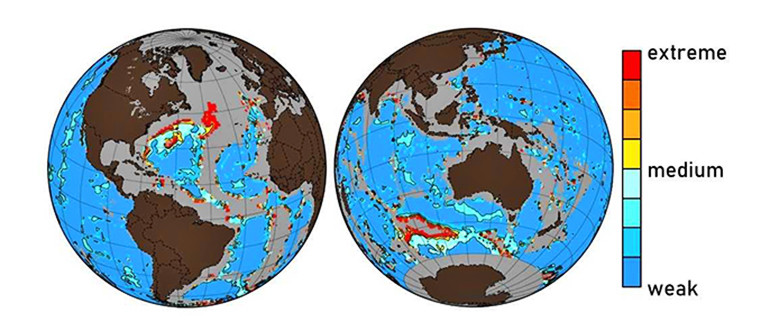 A map showing areas of the seafloor that ocean acidification has affected, to varying degrees.