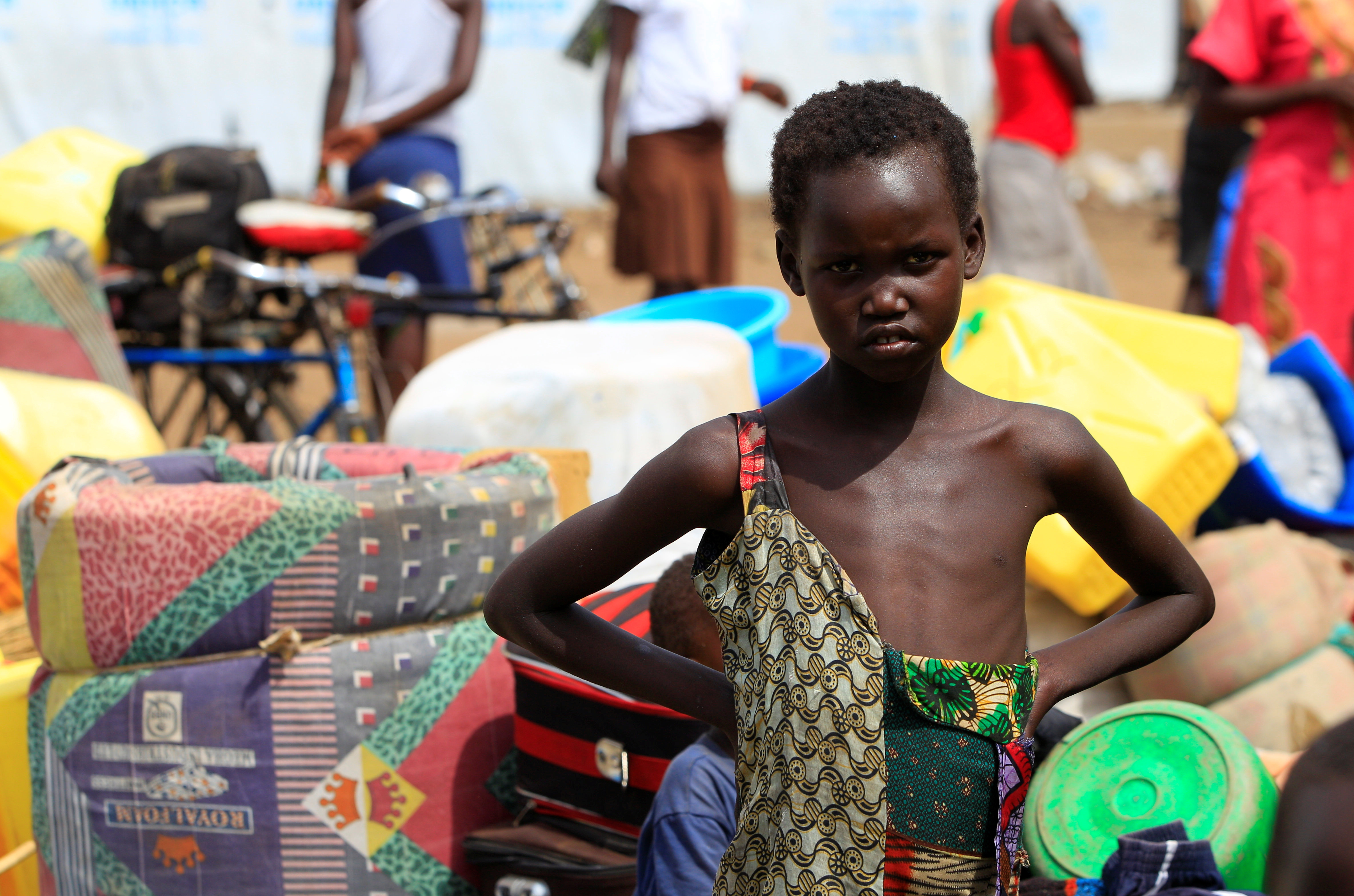 South Sudanese refugee girl displaced by fighting, arrives at Imvepi settlement in Arua district, northern Uganda, April 4, 2017. Picture taken April 4, 2017. REUTERS/James Akena - RTX3545L
