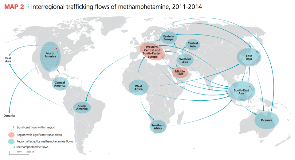 Interregional trafficking flows of methamphetamine, 2011-2014