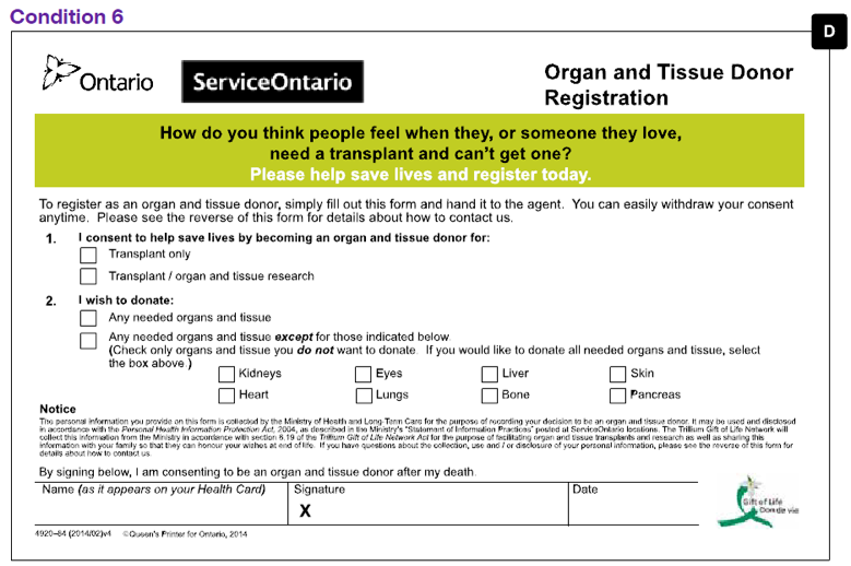 Ontario organ donation