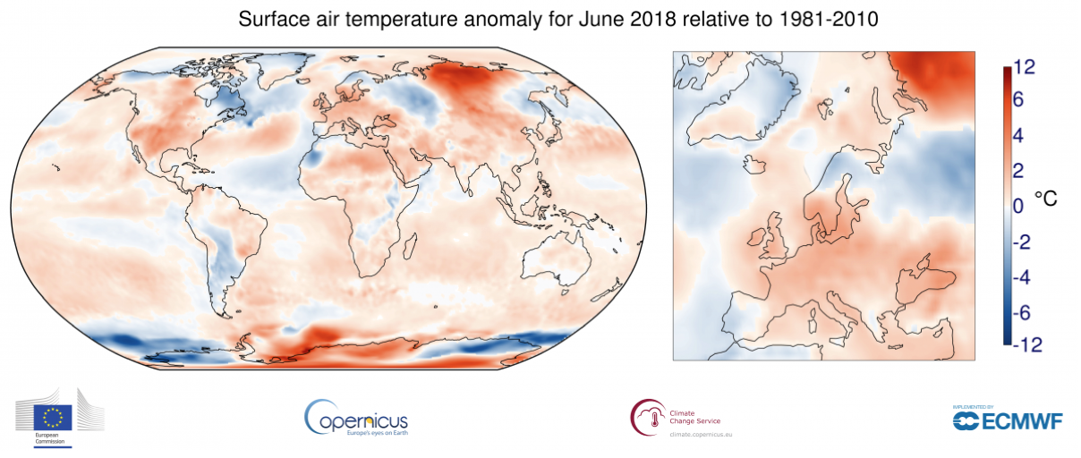 Maps show average temperature for June 2018, relative to 1981-2010 average. Shading indicates warm (red) and cool (blue) areas.