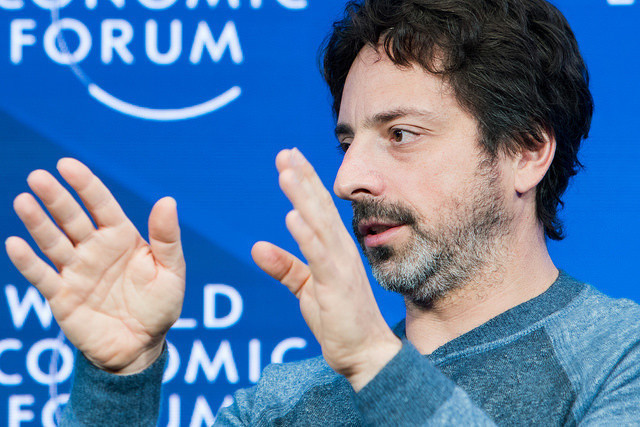 Sergey Brin, co-founder of Google, speaks during an interview with Professor Klaus Schwab