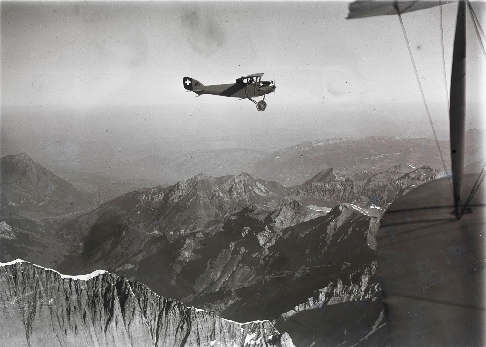 Swiss pilot and photographer Walter Mittelholzer flies over Mont Blanc in 1919.