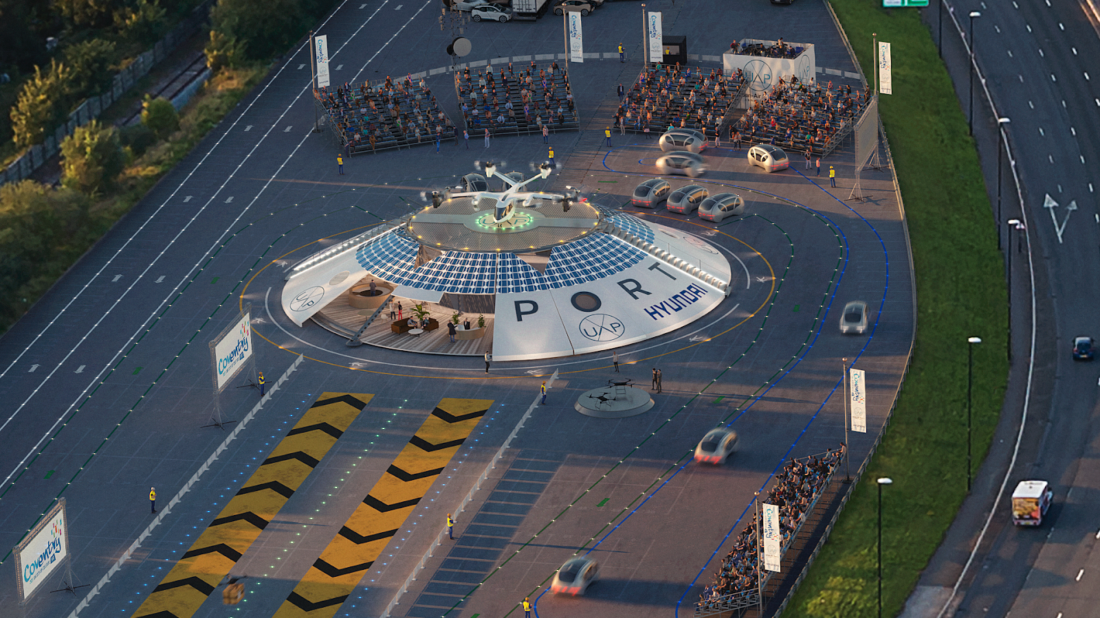 Image of the world's first electric flying vehicle airport near Coventry, UK
