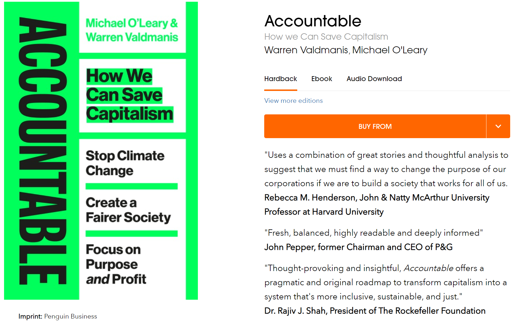 책임감 우리가 자본주의를 구할 수있는 방법 Warren Valdmanis Michael O'Leary