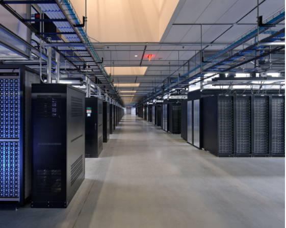 The server room at Facebook's Prineville data center, Oregon.