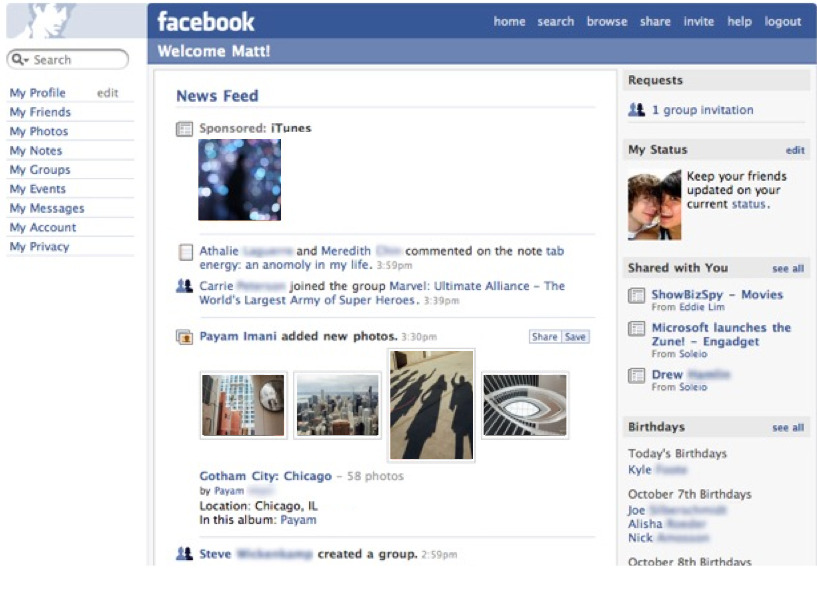 The Facebook homepage of 2006 - do you remember this?