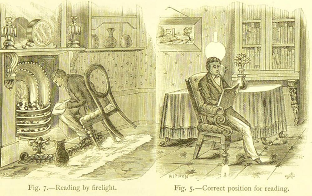 Reading advice from JD Browning's 1887 book Our Eyes and How to Preserve Them from Infancy to Old Age.