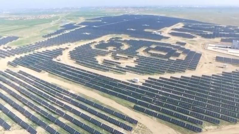 An aerial view shows panda-shaped solar plants built by Panda Green Energy Group in Datong, Shanxi province, China in this still image taken from a video footage, courtesy of Panda Green Energy Group, shot July 21, 2017.
