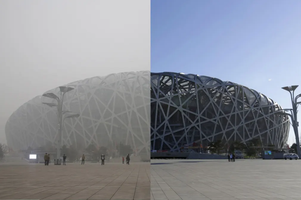 Beijing's National Stadium (the Bird's Nest) pictured before and during the games.
