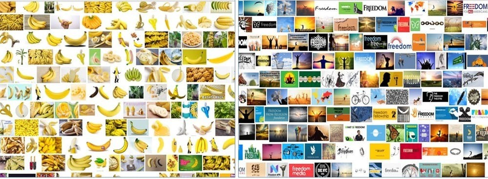 Screenshots of Google Image searches using 'banana' and 'freedom' as keywords