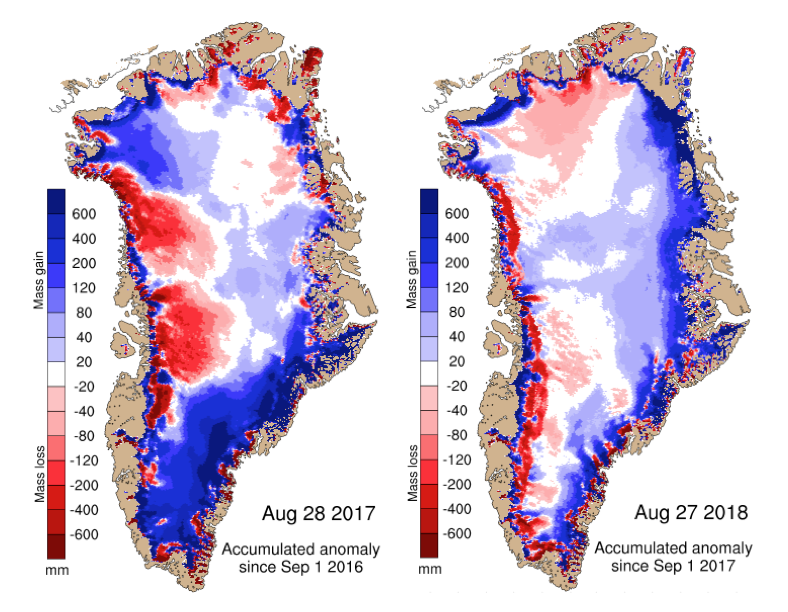 Maps show the difference between the annual SMB in 2017 (left) and 2018 (right) compared with the 1981-2010 period (in mm of ice melt). Blue shows more ice gain than average and red shows more ice loss than average.