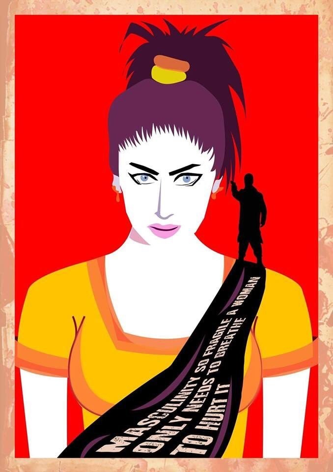 """Masculinity, so fragile, a woman only needs to breathe to hurt it."" An image depicting Qandeel Baloch"