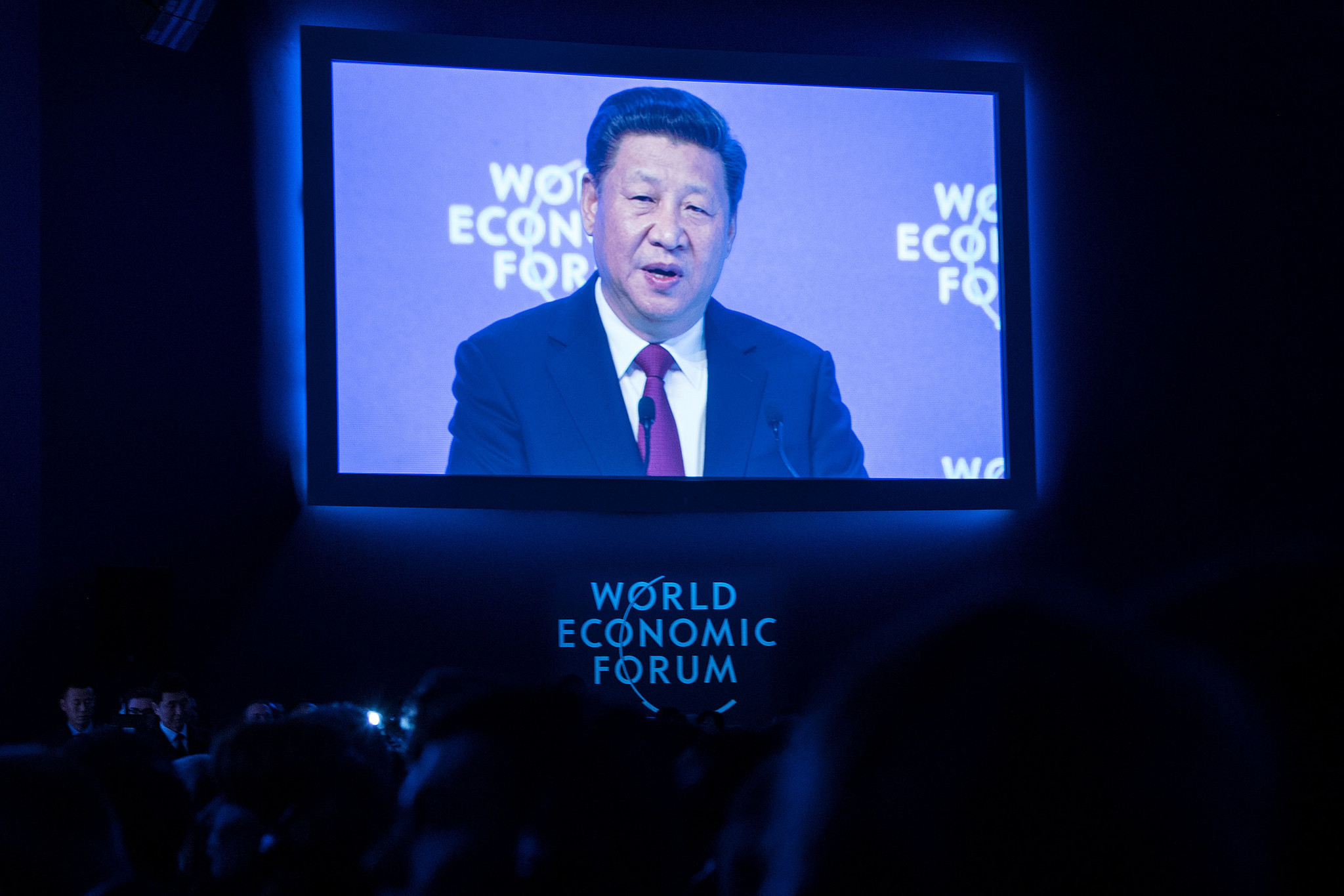 Xi Jinping, President of the People's Republic of China, delivers a speech to Davos participants