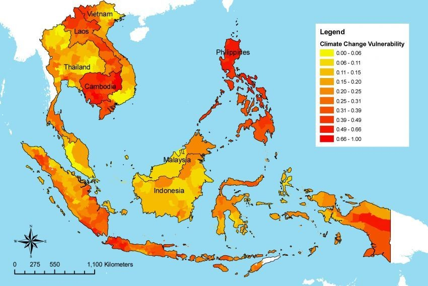 A climate-vulnerability map of South-East Asia.