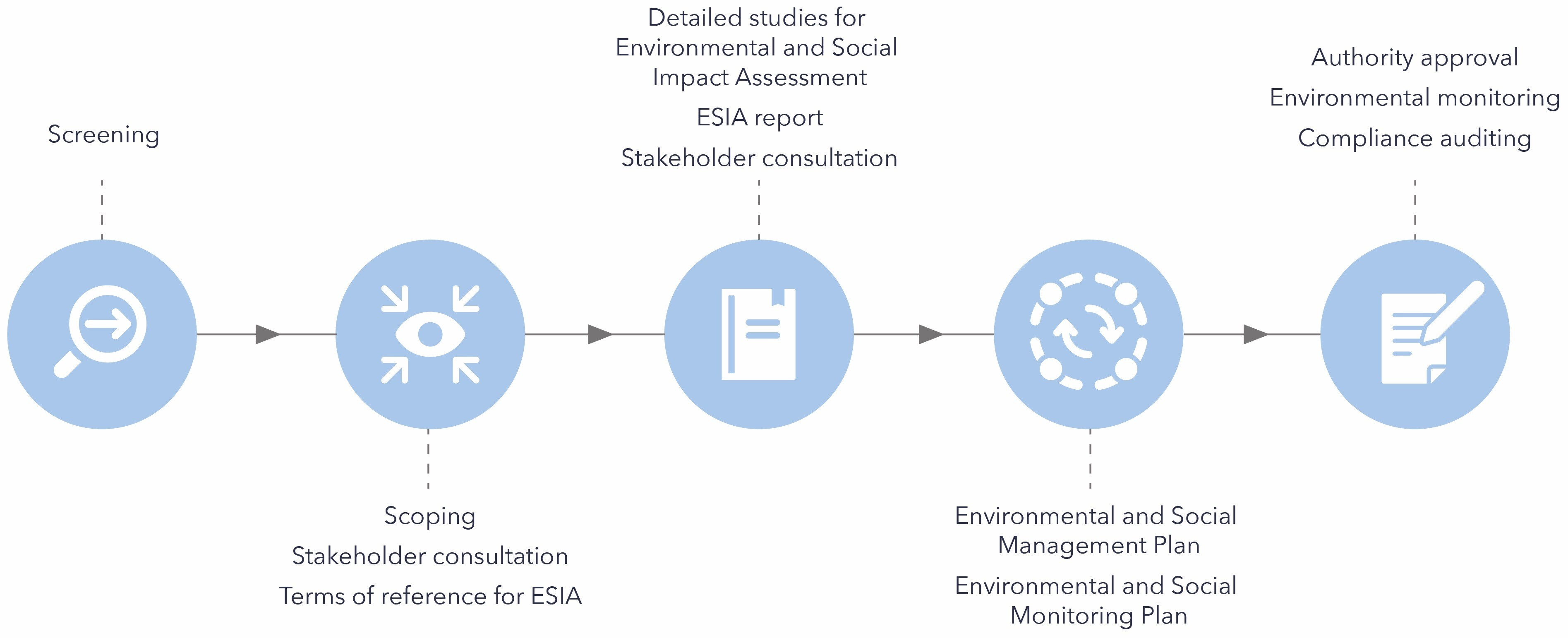 Key steps in the environmental and social impact assessment process