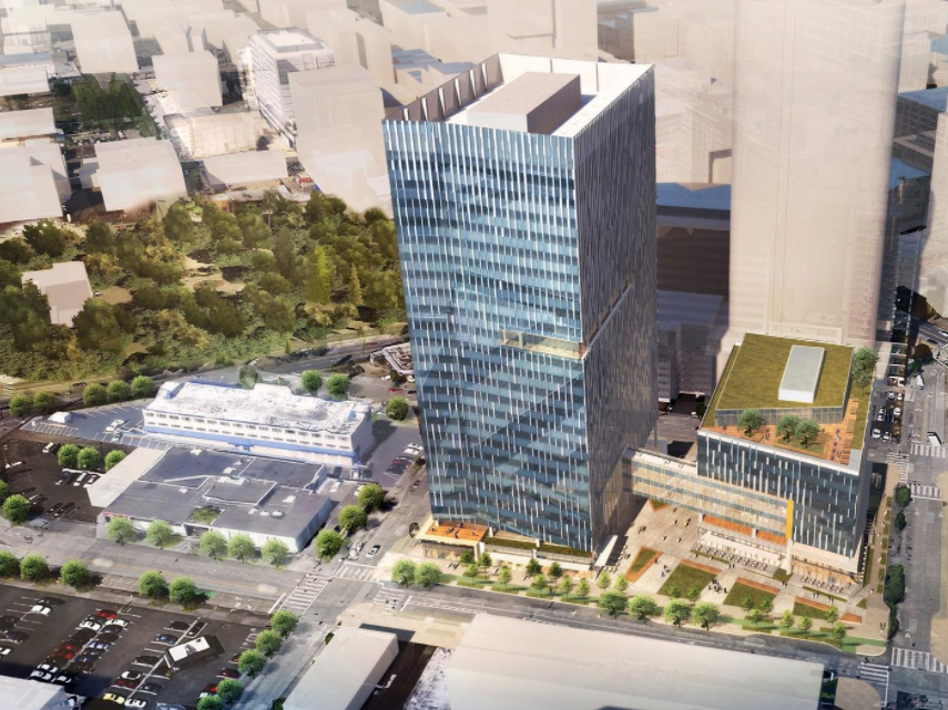 A rendering of the Amazon's new Seattle office building (right) that the company will share with a homeless shelter facility.